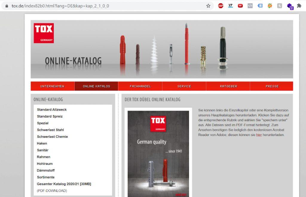 Beispiel Produktkatalog Tox